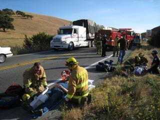 Emergency Workers at Car Crash